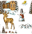 pattern christmas landscape vector image vector image