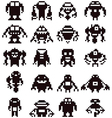 Pixel robot collection vector image vector image