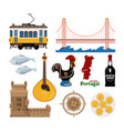 portuguese icon set in flat style vector image vector image