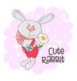postcard cute rabbit with flowers cartoon style vector image vector image