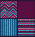 seamless knitted pattern set of color backgrounds vector image vector image