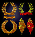 set laurel wreaths with ribbons for inscription vector image vector image