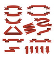 set of red ribbonsbookmarks in flat style vector image