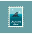 Shark fin flat stamp summertime vector image vector image