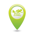 shark sighting icon green map pointer vector image vector image