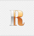 silver and gold font symbol alphabet letter r vector image