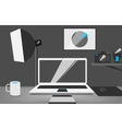 Stylish workplace of a photographer vector image vector image
