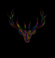 stylized deer in spectrum colors on black vector image vector image