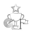 trophy cup with target arrow and set icons vector image