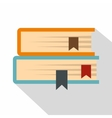 Two books icon flat style vector image vector image