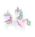 unicorns animal rainbow hair cartoon isolated icon vector image vector image