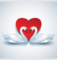 valentine background with two white 3d swans and vector image vector image