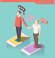 virtual love isometric composition vector image