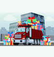 winter truck with gifts presents vector image vector image