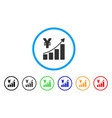 yen growth trend rounded icon vector image vector image
