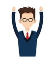 young businessman with glasses and arms up icon vector image vector image