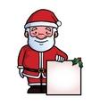 Santa Claus holding a blank sign vector image