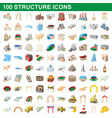 100 structure icons set cartoon style vector image