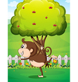A monkey in front of the tree in the yard vector image vector image
