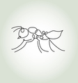 Ant in minimal line style vector image