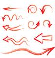arrow set doodle hand drawn design elements set vector image