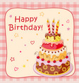birthday card with cake tier candles cherry and vector image vector image