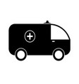 black silhouette ambulance vector image