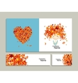 Business cards autumn girl for your design vector image