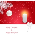 Christmas card in red On her white fir branch vector image vector image