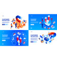 customer retention banner set isometric style vector image vector image