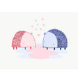 cute cartoon valentines card with two hedgehogs vector image vector image