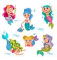 cute mermaids adorable girl sea little princess vector image