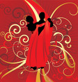 dancing couple on red backdrop vector image