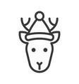 deer wearing santa hat outline icon editable vector image vector image