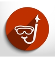 diving mask and tube web flat icon vector image