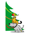 dog cat and bird decorating the christmas tree vector image