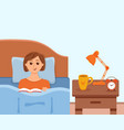 girl lying on bed in home bedroom and reading a vector image vector image