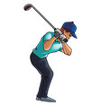 golf player swings with a golf club on white vector image