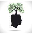 green tree on head human head vector image