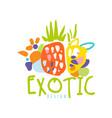 hand drawn organic tropical fruits logo template vector image vector image