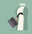 hand hold briefcase run to open exit door vector image