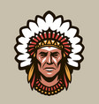 indian chief in headdress feathers warrior vector image