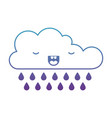 kawaii cloud with rain in degraded blue to purple vector image vector image