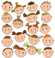 kids heads colored vector image vector image