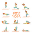 kids yoga set with cute cartoon girl vector image vector image
