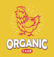 label with a chicken silhouette eco organic farm vector image vector image