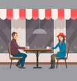 man and woman sitting at cafe with cups vector image