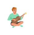 man sitting with crossed legs playing the acoustic vector image vector image