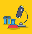 microscope and chemical flask icon vector image