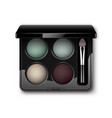multicolored eye shadows with makeup brush vector image vector image